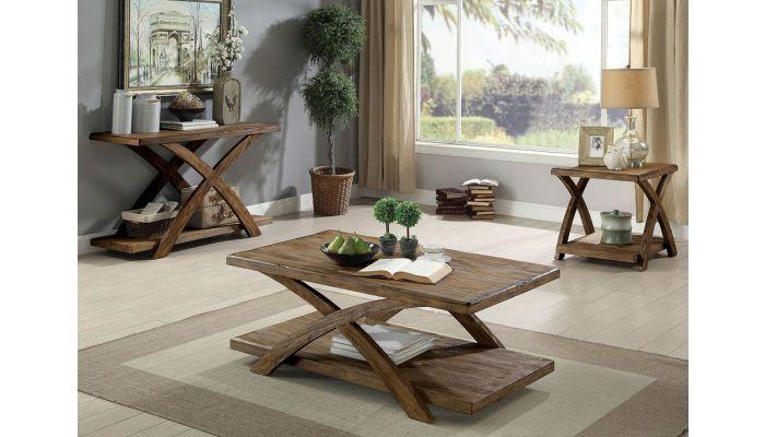 Leandra Rustic Oak Finish Coffee Table Set