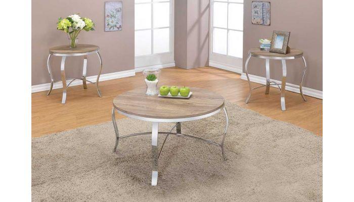 Lanar Rustic Oak Modern Coffee Table Set