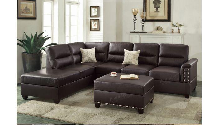 Lenny Espresso Leather Sectional Sofa