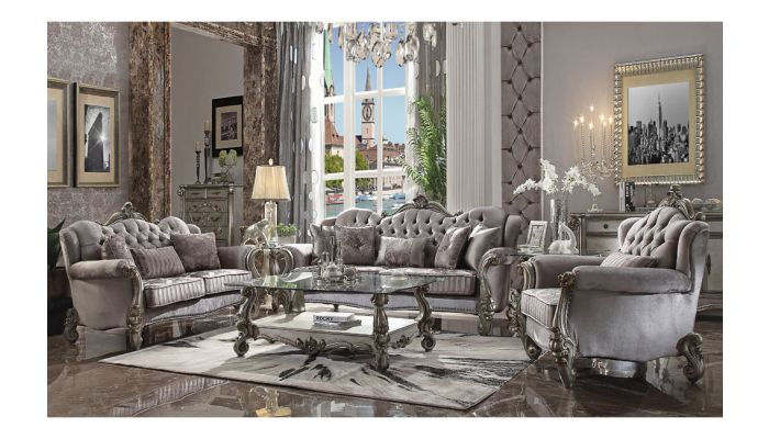Sensational Leonie Platinum Living Room Collection Home Interior And Landscaping Ponolsignezvosmurscom