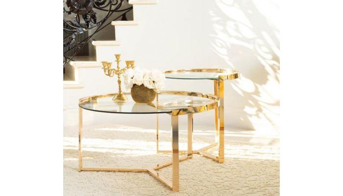 Lillian 2-Piece Gold Finish Coffee Table Set