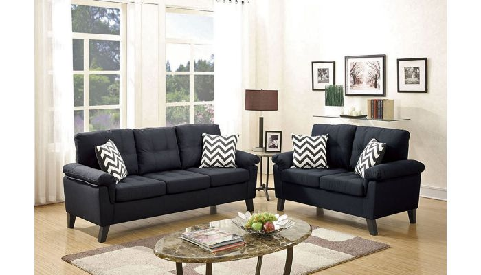 Lily Black Linen 2-Pice Sofa Set