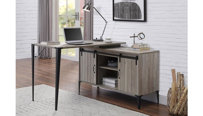 Lima Rustic Grey L-Shape Office Desk