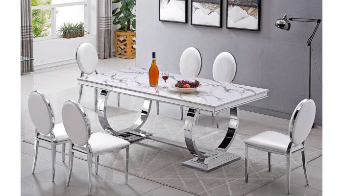 Lippa Modern Marble Top Dining Table, Marble Top Dining Room Table
