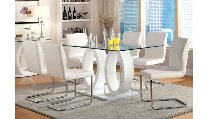 Lodia White Lacquer Dining Table Set