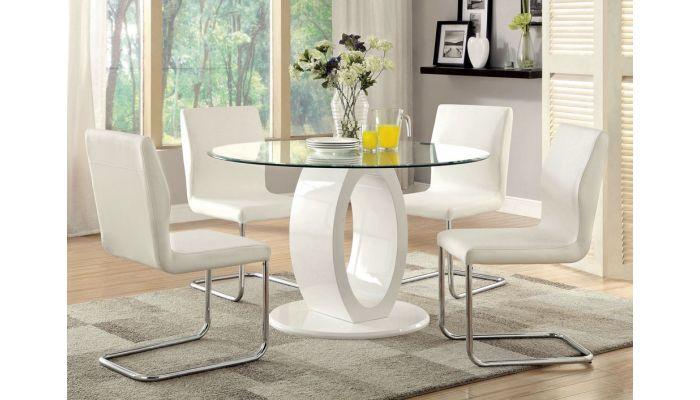 Lodia White Round Modern Table Set