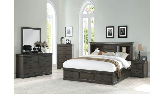 Louis Philippe Grey Finish Storage Bed