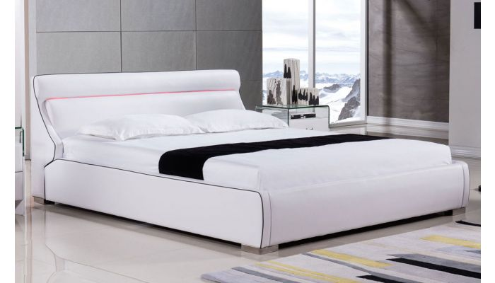 Luchi White Leather Bed With LED Light