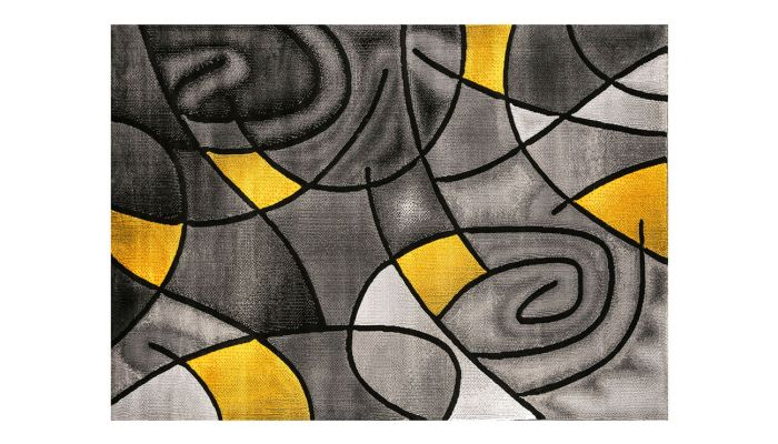 Luna Modern Grey Yellow Area Rug