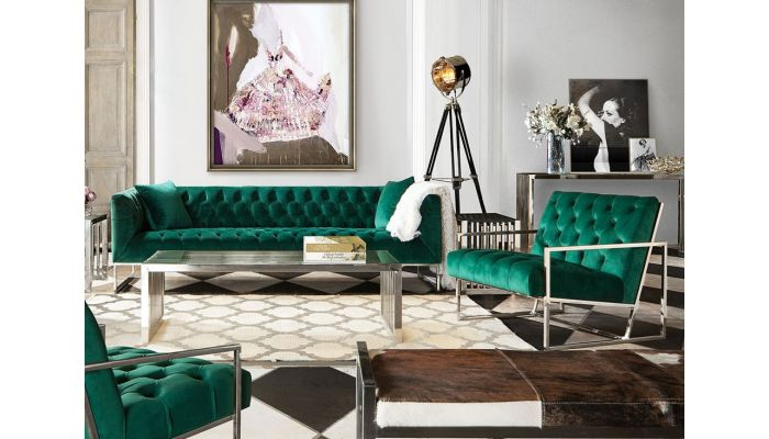 Terrific Crawford Emerald Green Velvet Modern Sofa Gmtry Best Dining Table And Chair Ideas Images Gmtryco