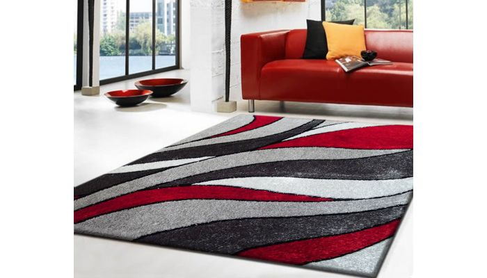 Luxton Red And Grey Shag Rug