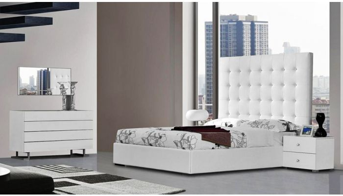 Marcella Tall Headboard Leather Bed