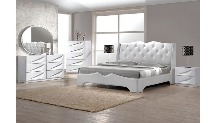 Madrid Leather Platform Bed Collection
