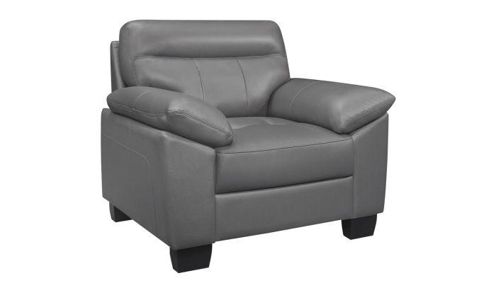 Superb Makeda Grey Genuine Leather Sofa Spiritservingveterans Wood Chair Design Ideas Spiritservingveteransorg