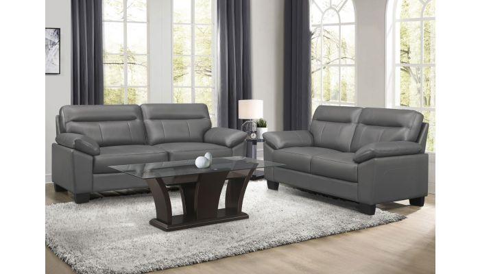 Makeda Grey Genuine Leather Sofa
