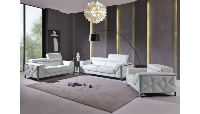 Malvina White Italian Leather Living Room