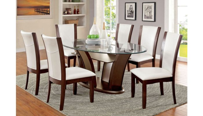 Manhattan Oval Glass Top Table Set, Glass Top Dining Room Table