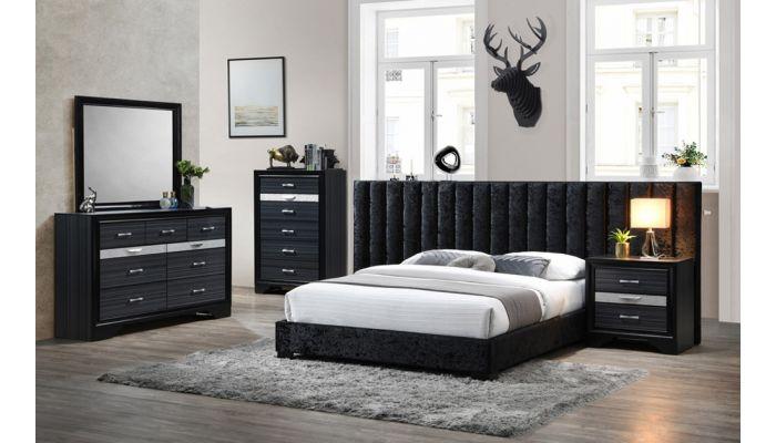 Marcella Black Winged Headboard Bed