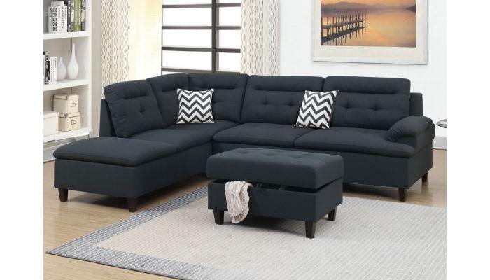 Marden Black Linen Sectional Sofa Set