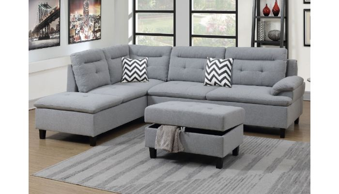 Marden Grey Sectional With Ottoman