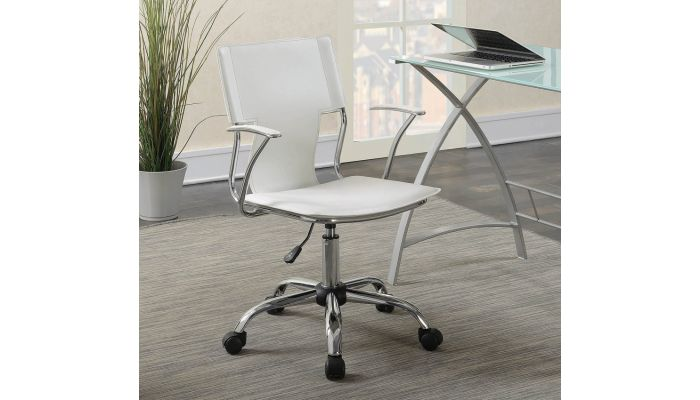 Mark White Leather Office Chair