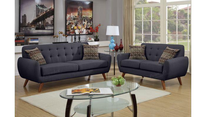 Marnie Black Linen Sofa and Loveseat