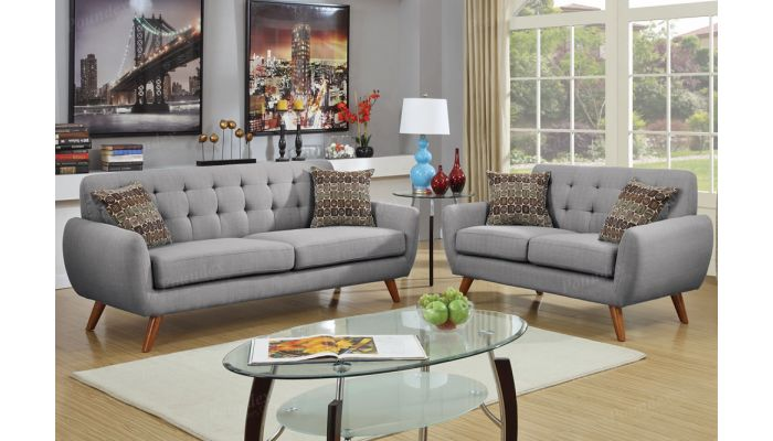 Marnie Grey Linen Living Room Set