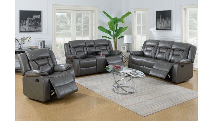 Martin Grey Leather Recliner Sofa