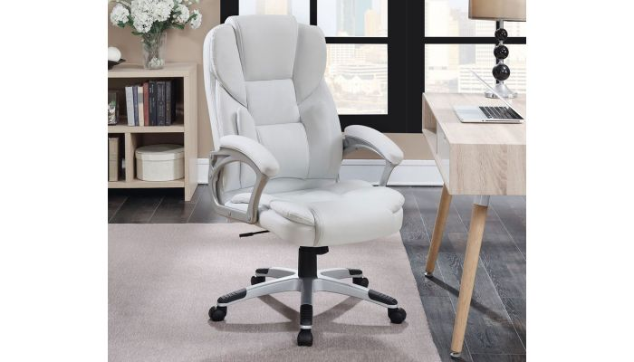 Max White Leather Modern Office Chair