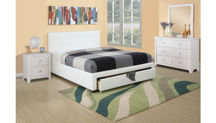 Maxon White Leather Storage Bed