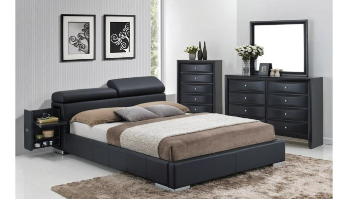 Maxy Black Bed With Hidden Stands