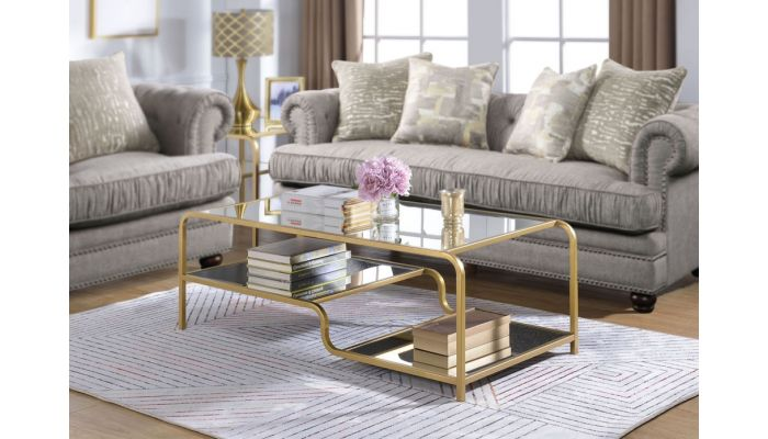 Maze Gold Finish Mirrored Coffee Table