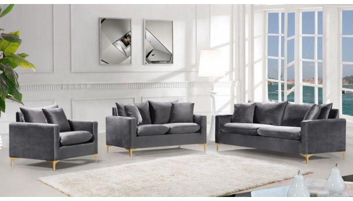 Melinda Grey Velvet Modern Sofa, Grey Modern Sofa Set