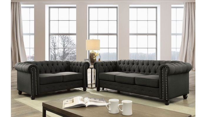 Milana Dark Grey Linen Chesterfield Sofa