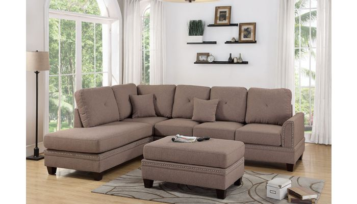 Milano Coffee Fabric L Shape Sofa Set