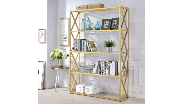 Milavera Goldtone Metal and Glass Bookshelf