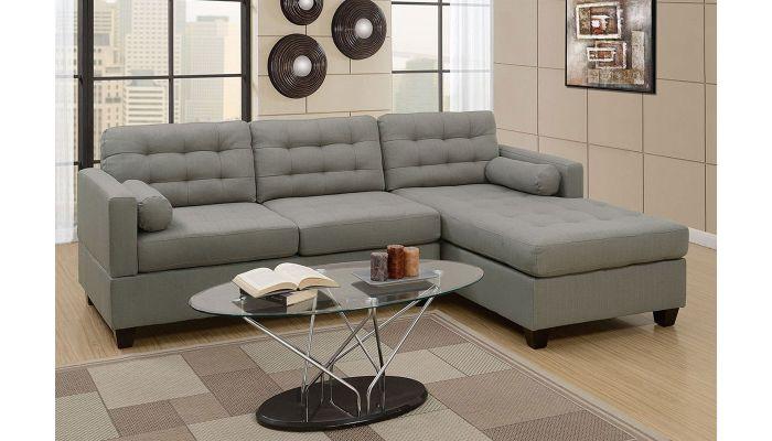 Miley Grey Linen L Shape Sofa