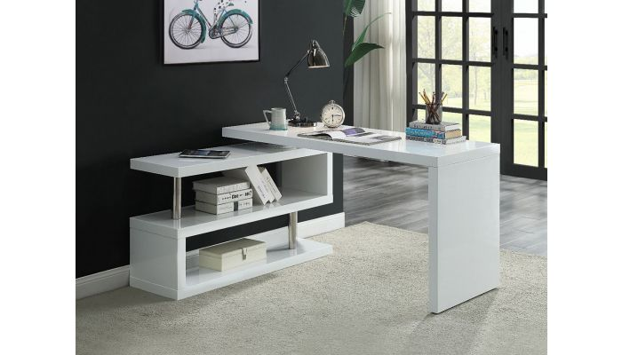 Mina White Desk With Folding Side