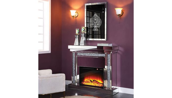 Noro Electric Mirrored Fireplace