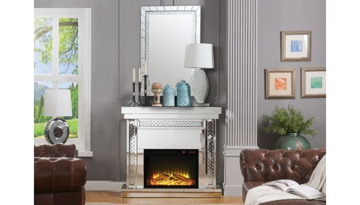Ovion Mirrored Fireplace Crystal Accented