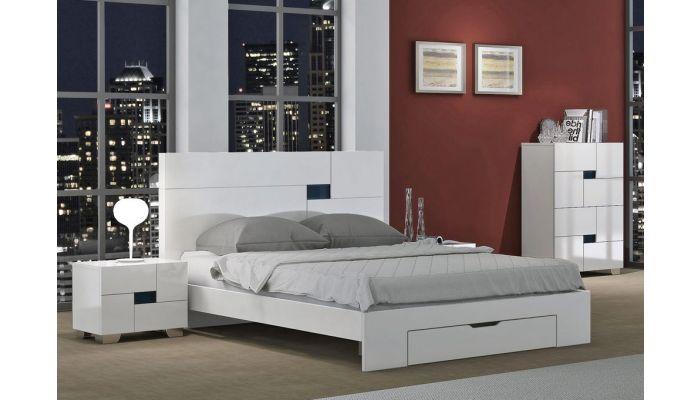 Misty White Modern Platform Bed