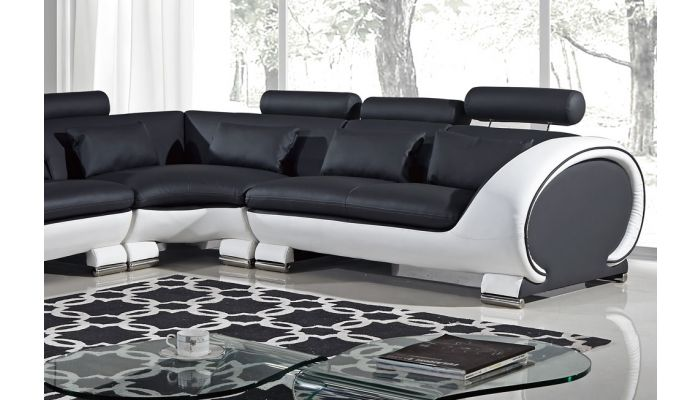 Skye Black And White Modern Sectional
