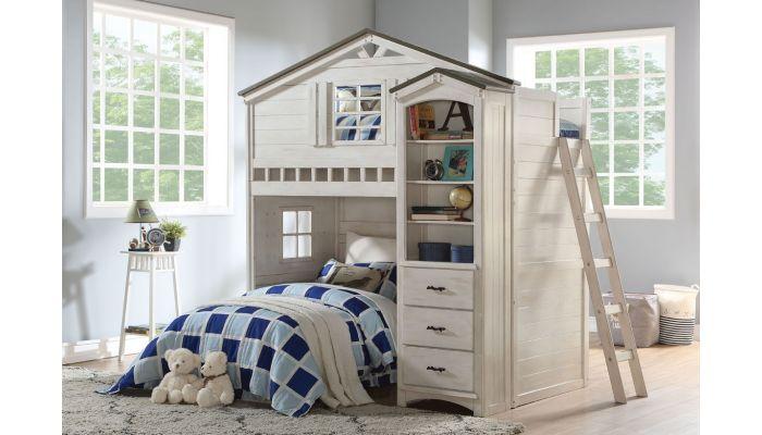 Montana Loft Bed Weathered White