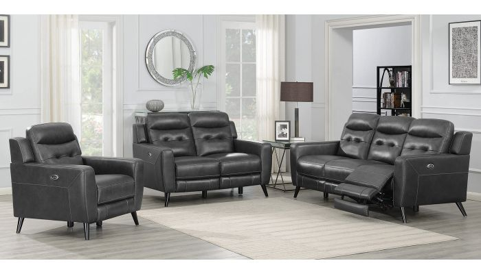 Montoya Charcoal Leather Power Recliner Sofa