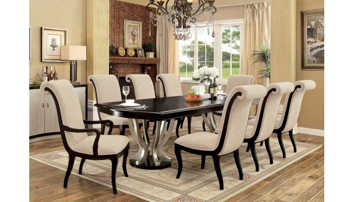 Monza Espresso and Silver Dining Table Set