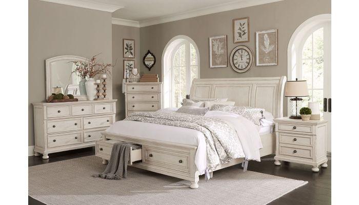 Morelle Antique White Storage Bed
