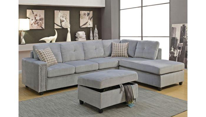 Morey Sectional Grey Velvet