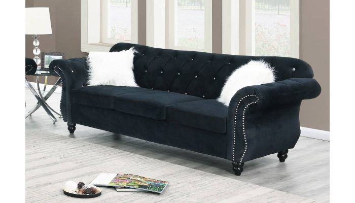Mowry Chesterfield Sofa Black Velvet