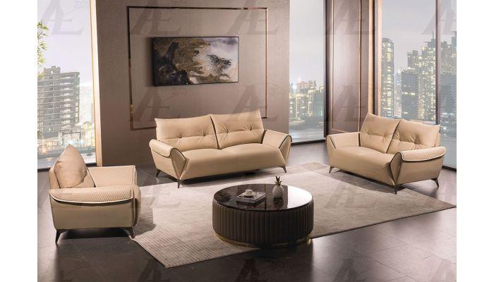 Gerson Modern Tan Leather Sofa