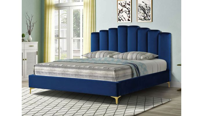 Nadia Blue Velvet Bed Gold Legs